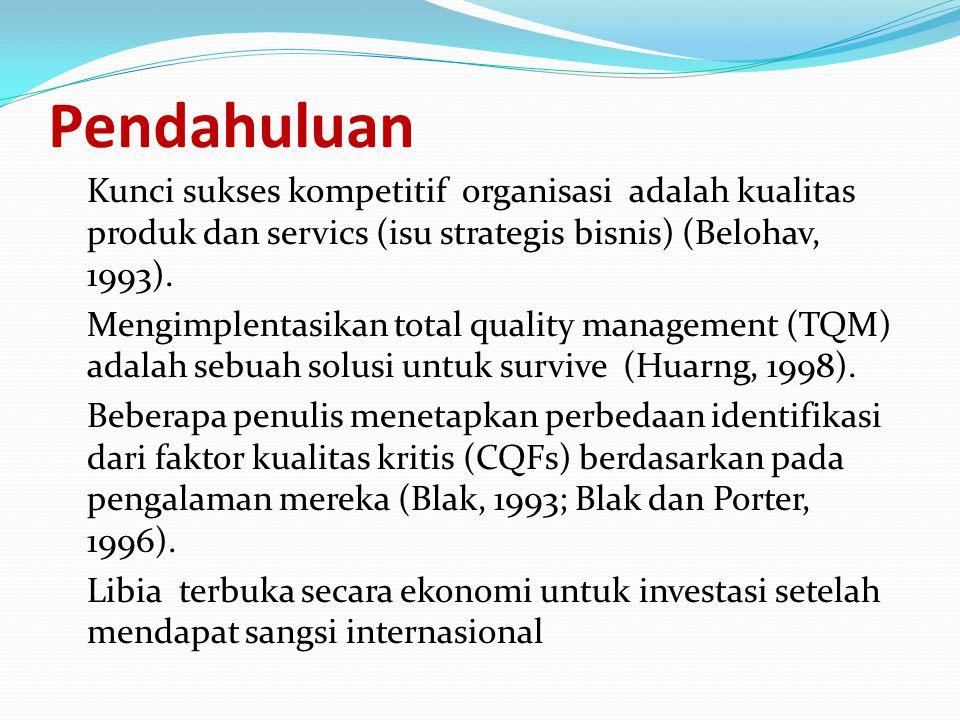 Pendahuluan Kunci sukses kompetitif organisasi adalah kualitas produk dan servics (isu strategis bisnis) (Belohav, 1993). Mengimplentasikan total qual