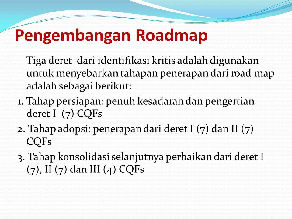 Pengembangan Roadmap Tiga deret dari identifikasi kritis adalah digunakan untuk menyebarkan tahapan penerapan dari road map adalah sebagai berikut: 1.
