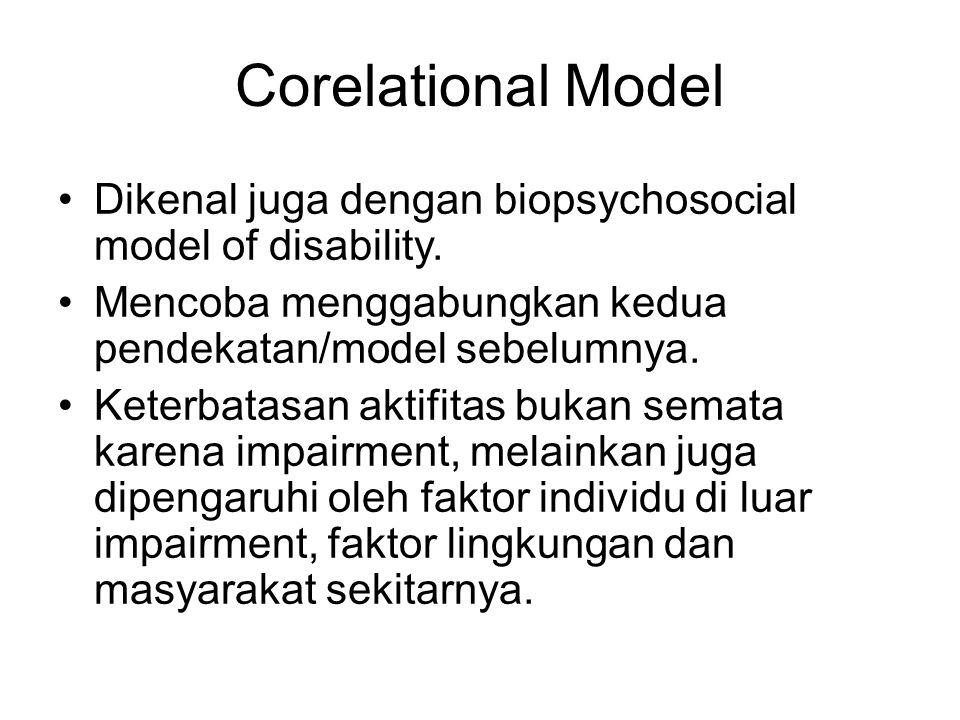 Corelational Model Dikenal juga dengan biopsychosocial model of disability. Mencoba menggabungkan kedua pendekatan/model sebelumnya. Keterbatasan akti