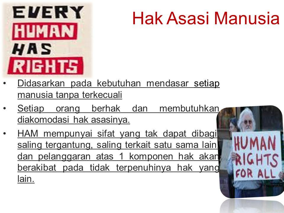 Hak Asasi Manusia Didasarkan pada kebutuhan mendasar setiap manusia tanpa terkecuali Setiap orang berhak dan membutuhkan diakomodasi hak asasinya. HAM