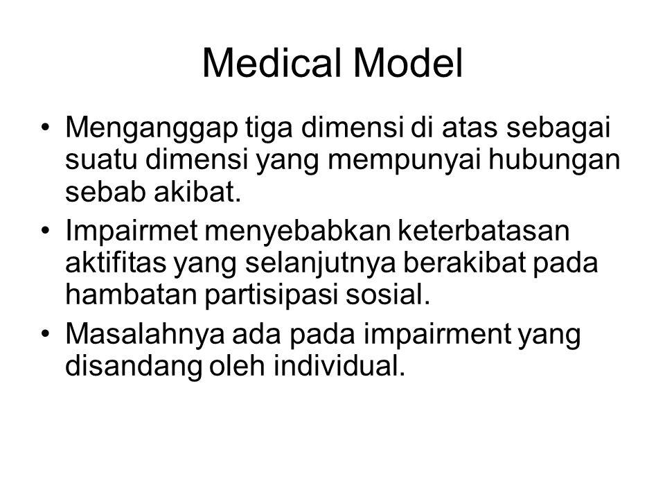 Medical Model Menganggap tiga dimensi di atas sebagai suatu dimensi yang mempunyai hubungan sebab akibat. Impairmet menyebabkan keterbatasan aktifitas
