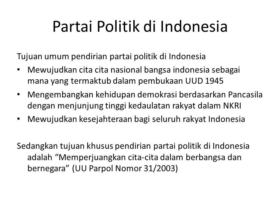 Partai Politik di Indonesia Tujuan umum pendirian partai politik di Indonesia Mewujudkan cita cita nasional bangsa indonesia sebagai mana yang termakt
