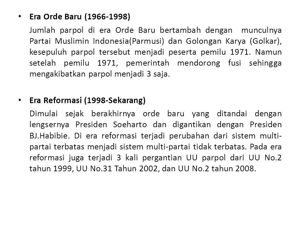 Era Orde Baru (1966-1998) Jumlah parpol di era Orde Baru bertambah dengan munculnya Partai Muslimin Indonesia(Parmusi) dan Golongan Karya (Golkar), ke
