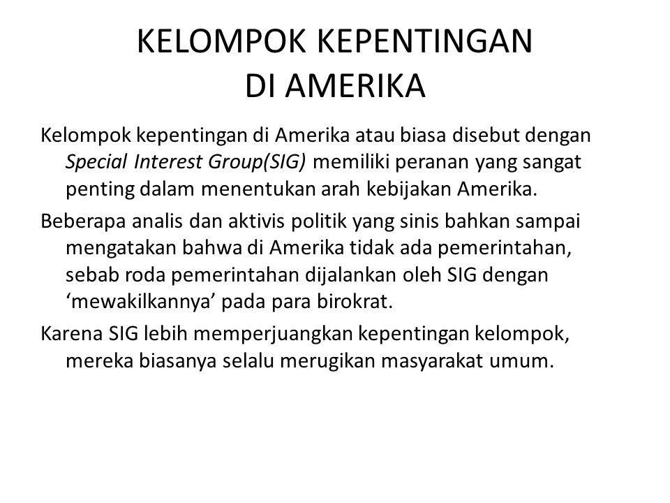 KELOMPOK KEPENTINGAN DI AMERIKA Kelompok kepentingan di Amerika atau biasa disebut dengan Special Interest Group(SIG) memiliki peranan yang sangat pen