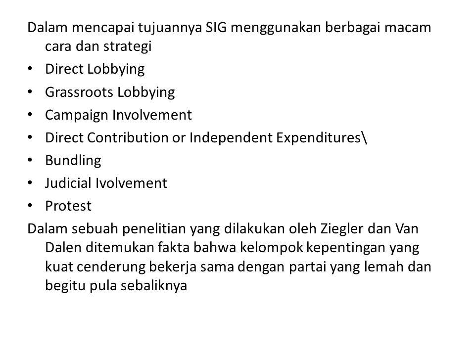 Dalam mencapai tujuannya SIG menggunakan berbagai macam cara dan strategi Direct Lobbying Grassroots Lobbying Campaign Involvement Direct Contribution
