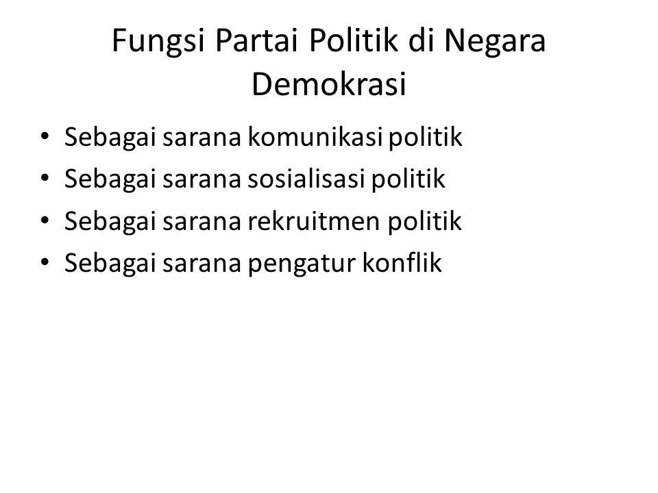 Fungsi Partai Politik di Negara Demokrasi Sebagai sarana komunikasi politik Sebagai sarana sosialisasi politik Sebagai sarana rekruitmen politik Sebag