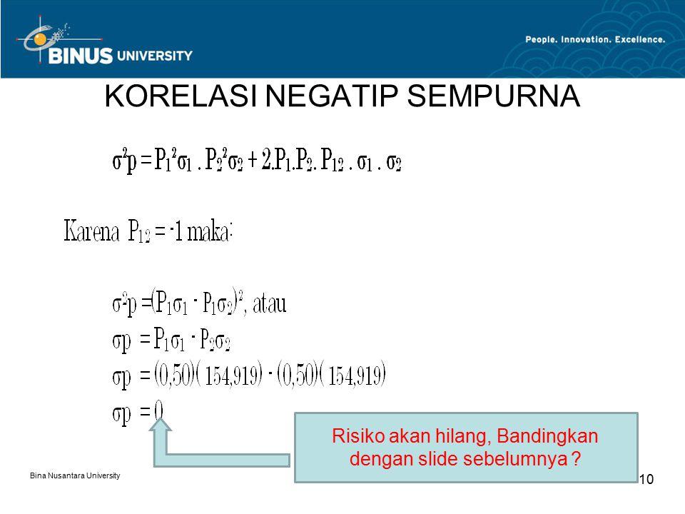 KORELASI NEGATIP SEMPURNA Bina Nusantara University 10 Risiko akan hilang, Bandingkan dengan slide sebelumnya ?