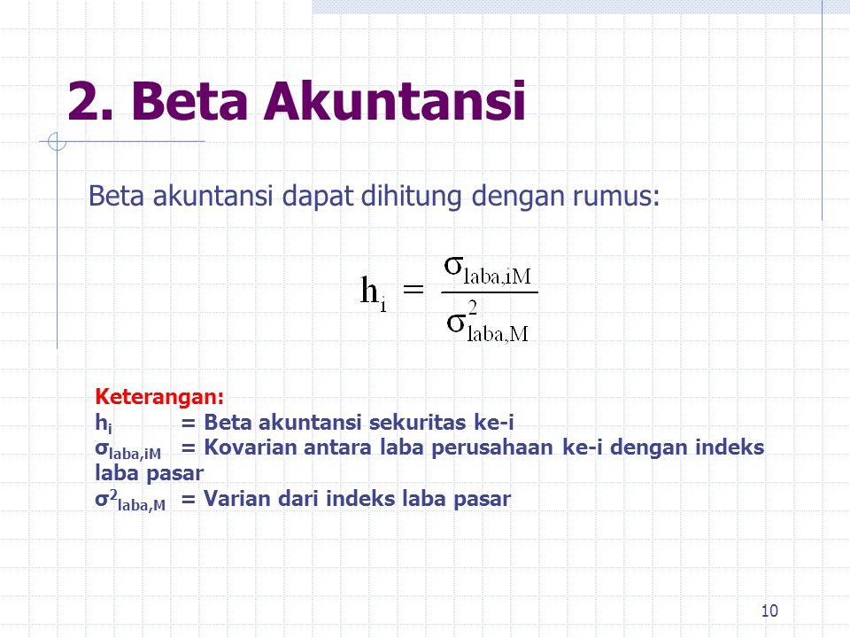 2. Beta Akuntansi 10 Beta akuntansi dapat dihitung dengan rumus: Keterangan: h i = Beta akuntansi sekuritas ke-i σ laba,iM = Kovarian antara laba peru