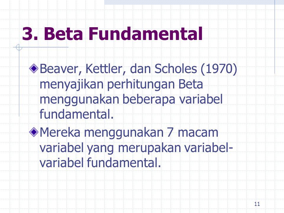 3. Beta Fundamental Beaver, Kettler, dan Scholes (1970) menyajikan perhitungan Beta menggunakan beberapa variabel fundamental. Mereka menggunakan 7 ma