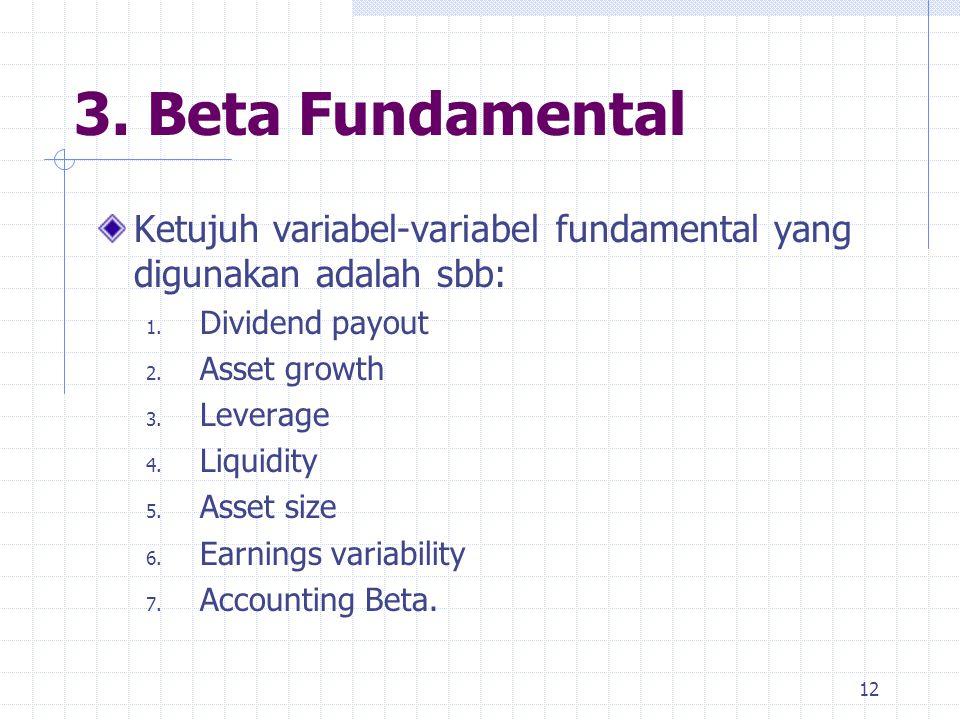 3. Beta Fundamental Ketujuh variabel-variabel fundamental yang digunakan adalah sbb: 1. Dividend payout 2. Asset growth 3. Leverage 4. Liquidity 5. As