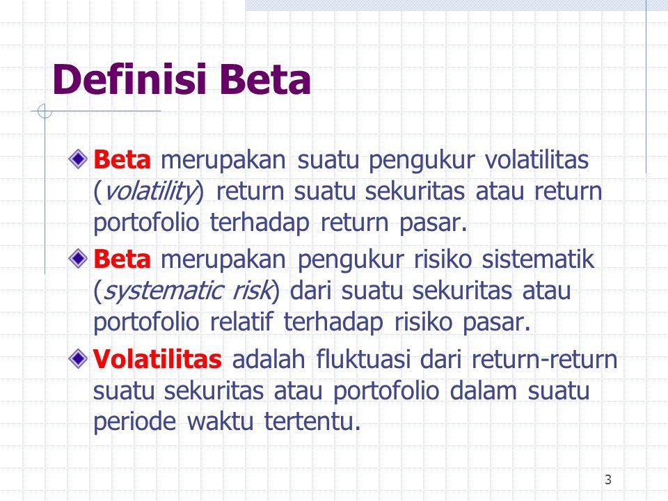 Definisi Beta Beta merupakan suatu pengukur volatilitas (volatility) return suatu sekuritas atau return portofolio terhadap return pasar. Beta merupak