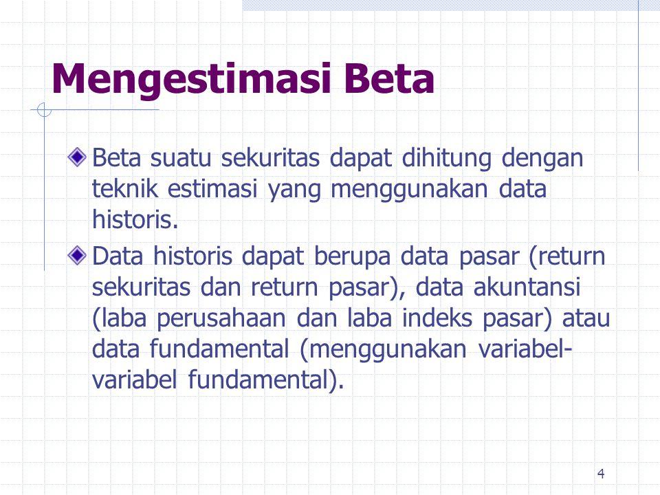 Mengestimasi Beta Beta suatu sekuritas dapat dihitung dengan teknik estimasi yang menggunakan data historis. Data historis dapat berupa data pasar (re