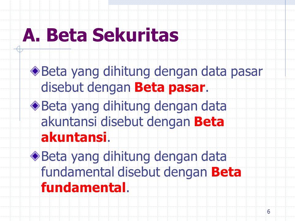 A. Beta Sekuritas Beta yang dihitung dengan data pasar disebut dengan Beta pasar. Beta yang dihitung dengan data akuntansi disebut dengan Beta akuntan