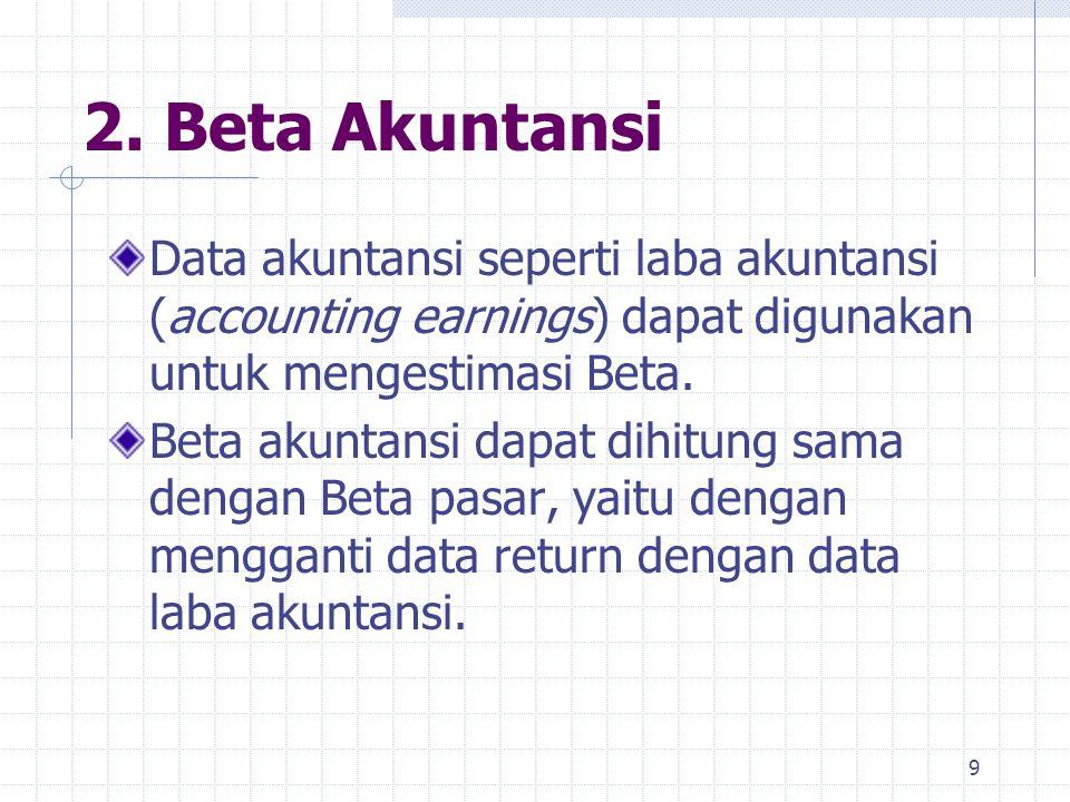 2. Beta Akuntansi Data akuntansi seperti laba akuntansi (accounting earnings) dapat digunakan untuk mengestimasi Beta. Beta akuntansi dapat dihitung s