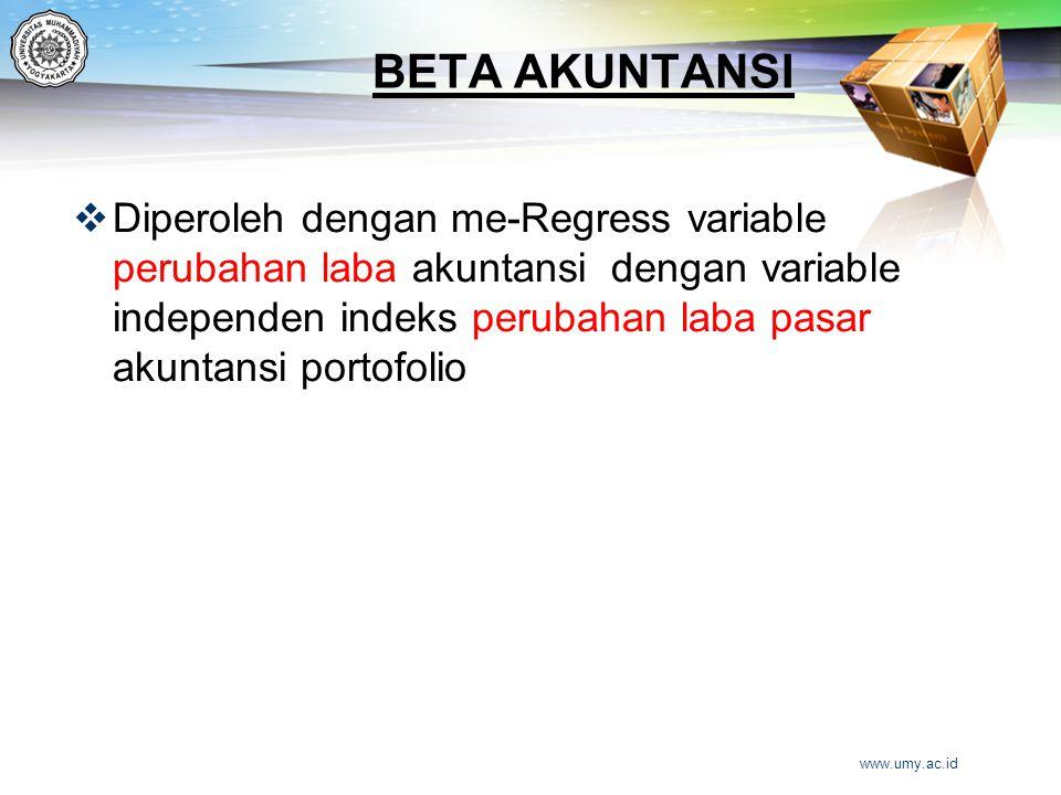 BETA AKUNTANSI  Diperoleh dengan me-Regress variable perubahan laba akuntansi dengan variable independen indeks perubahan laba pasar akuntansi portof