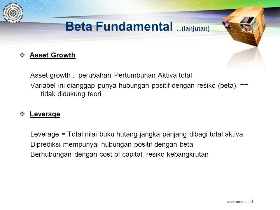 Beta Fundamental...(lanjutan)  Asset Growth Asset growth : perubahan Pertumbuhan Aktiva total Variabel ini dianggap punya hubungan positif dengan res