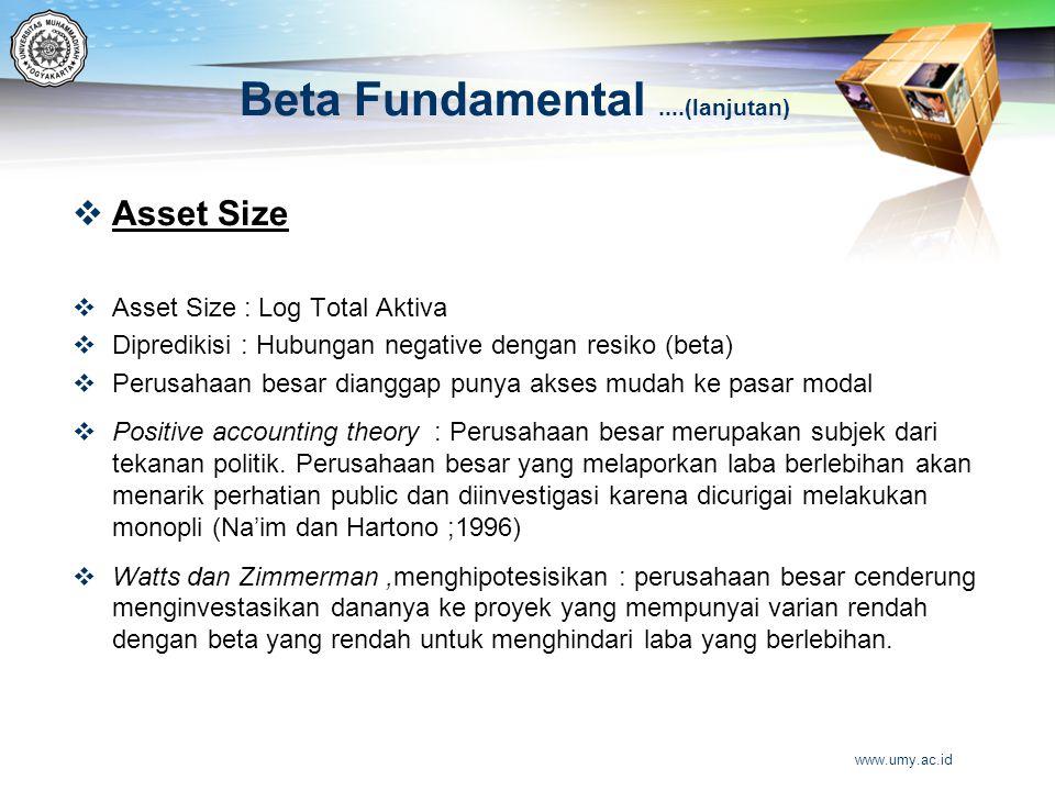 Beta Fundamental....(lanjutan)  Asset Size  Asset Size : Log Total Aktiva  Dipredikisi : Hubungan negative dengan resiko (beta)  Perusahaan besar