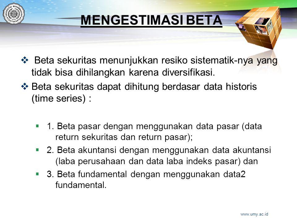 MENGESTIMASI BETA  Beta sekuritas menunjukkan resiko sistematik-nya yang tidak bisa dihilangkan karena diversifikasi.  Beta sekuritas dapat dihitung