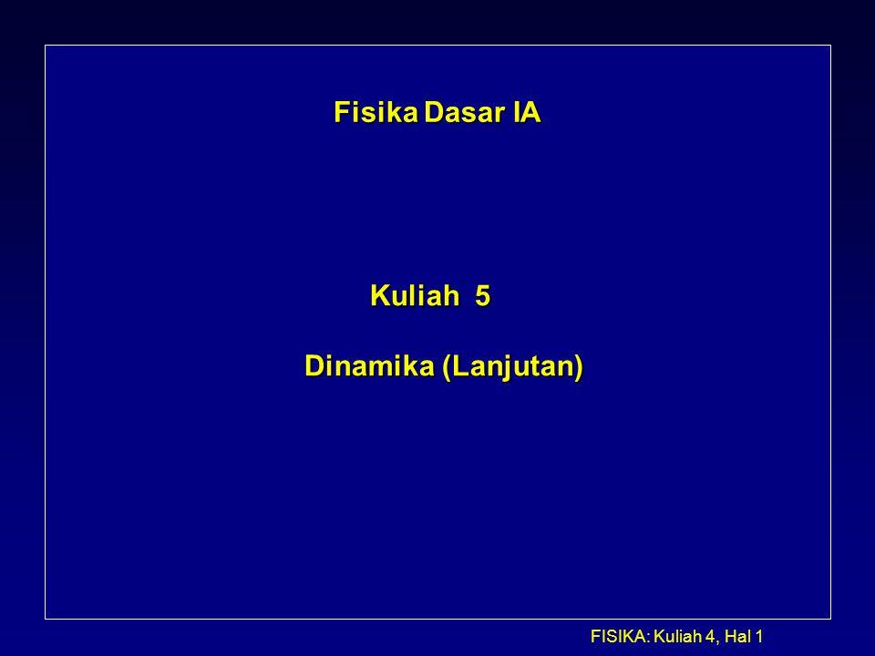 FISIKA: Kuliah 4, Hal 1 Fisika Dasar IA Kuliah 5 Dinamika (Lanjutan)