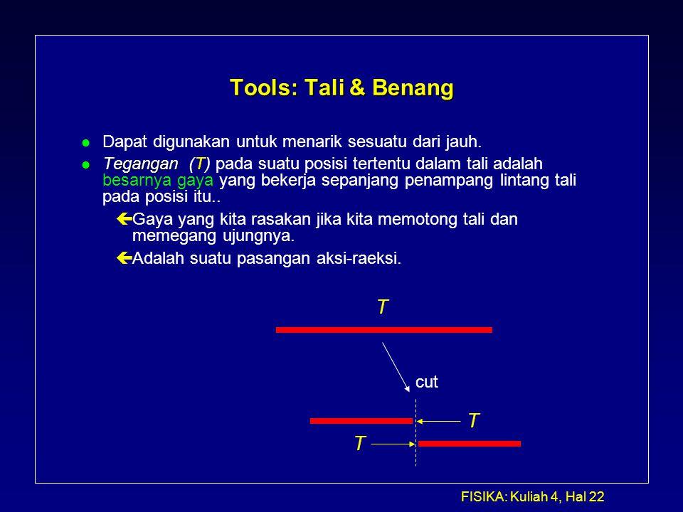 FISIKA: Kuliah 4, Hal 22 Tools: Tali & Benang l Dapat digunakan untuk menarik sesuatu dari jauh. l Tegangan l Tegangan (T) pada suatu posisi tertentu