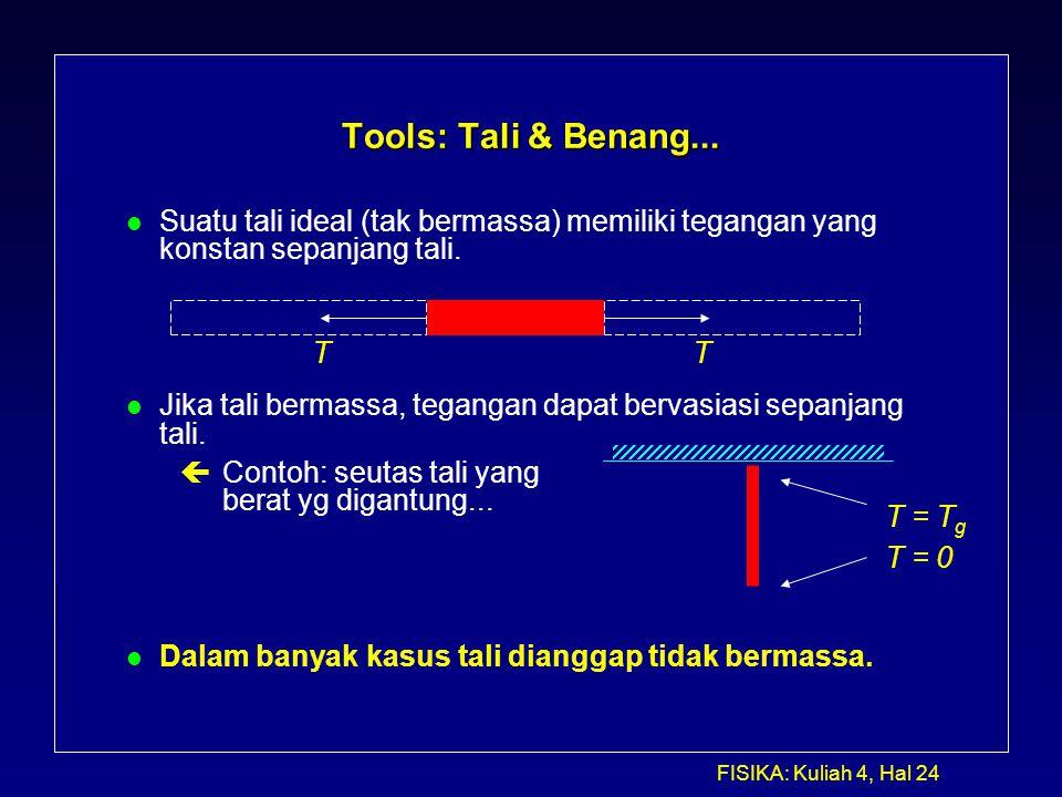 FISIKA: Kuliah 4, Hal 24 Tools: Tali & Benang... l Suatu tali ideal (tak bermassa) memiliki tegangan yang konstan sepanjang tali. l Jika tali bermassa
