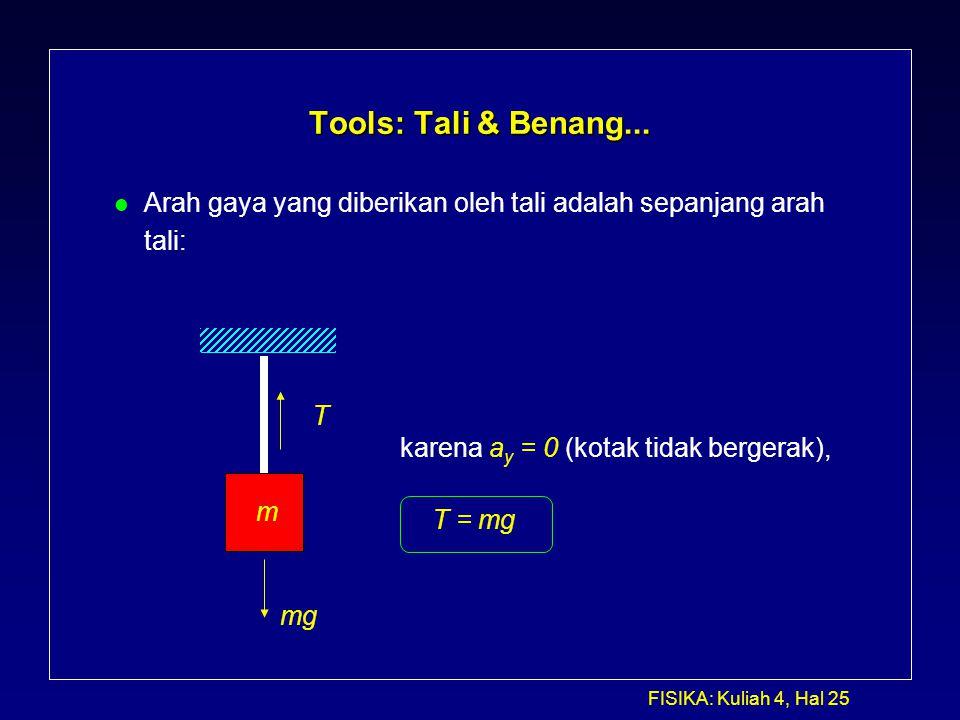 FISIKA: Kuliah 4, Hal 25 Tools: Tali & Benang... l Arah gaya yang diberikan oleh tali adalah sepanjang arah tali: mg T m karena a y = 0 (kotak tidak b
