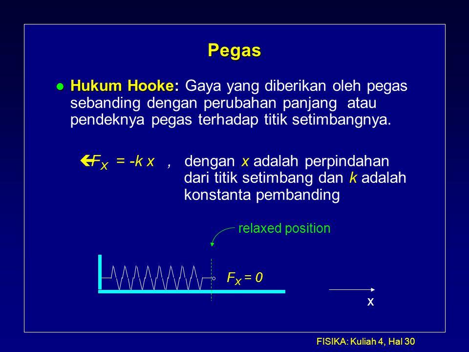 FISIKA: Kuliah 4, Hal 30 Pegas l Hukum Hooke: l Hukum Hooke: Gaya yang diberikan oleh pegas sebanding dengan perubahan panjang atau pendeknya pegas te