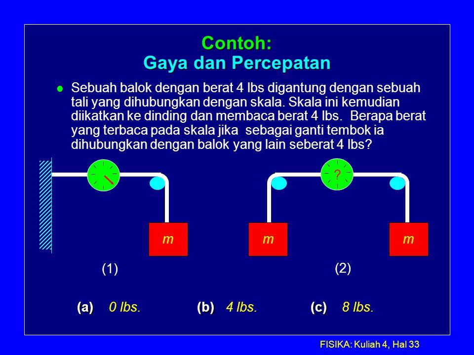 FISIKA: Kuliah 4, Hal 33 mmm (a) (b) (c) (a) 0 lbs. (b) 4 lbs. (c) 8 lbs. (1) (2) ? Contoh: Gaya dan Percepatan l Sebuah balok dengan berat 4 lbs diga