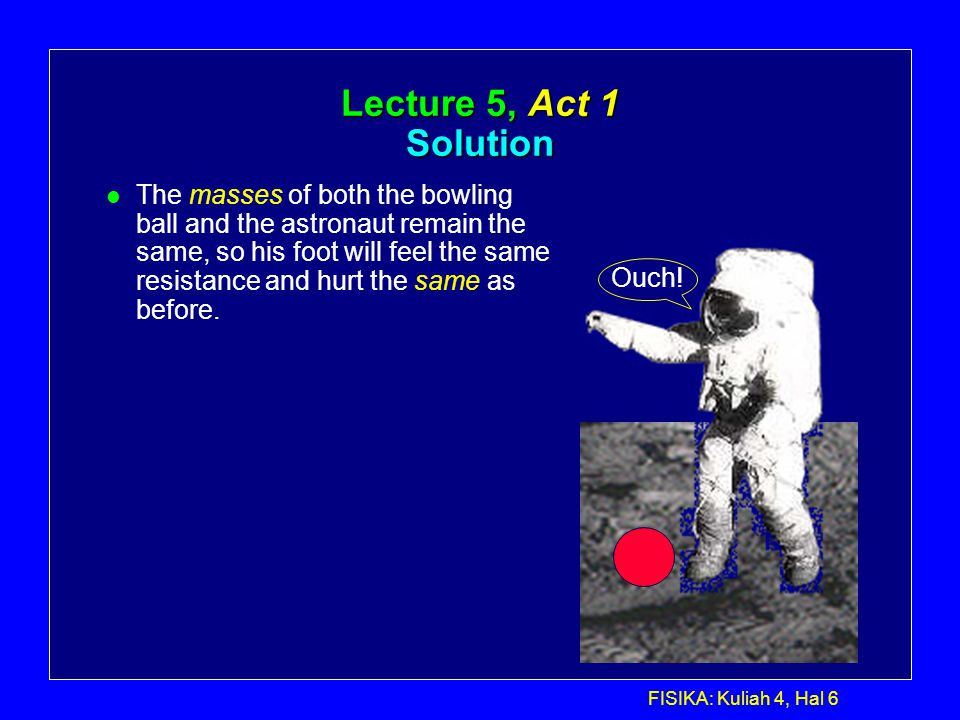 FISIKA: Kuliah 4, Hal 6 Lecture 5, Act 1 Solution Ouch.