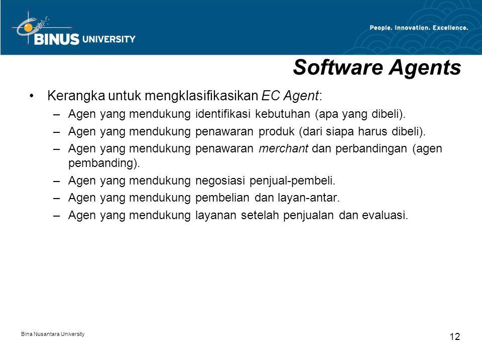 Bina Nusantara University 12 Software Agents Kerangka untuk mengklasifikasikan EC Agent: –Agen yang mendukung identifikasi kebutuhan (apa yang dibeli)