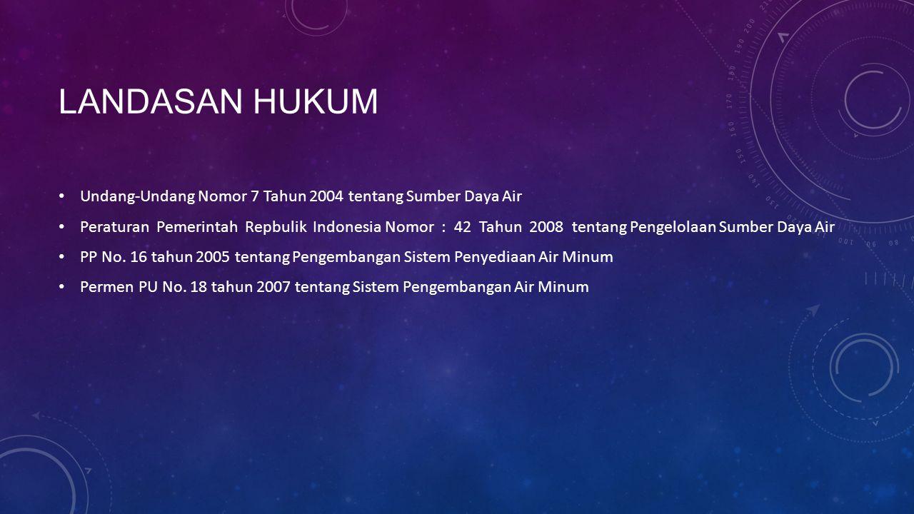 LANDASAN HUKUM Undang-Undang Nomor 7 Tahun 2004 tentang Sumber Daya Air Peraturan Pemerintah Repbulik Indonesia Nomor : 42 Tahun 2008 tentang Pengelol