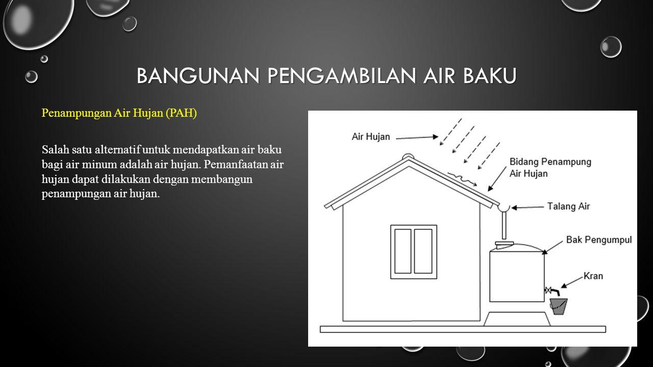 BANGUNAN PENGAMBILAN AIR BAKU Penampungan Air Hujan (PAH) Salah satu alternatif untuk mendapatkan air baku bagi air minum adalah air hujan. Pemanfaata