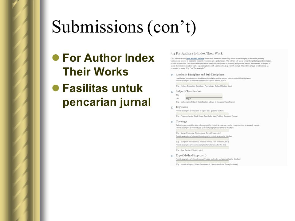 Submissions (con't) For Author Index Their Works Fasilitas untuk pencarian jurnal