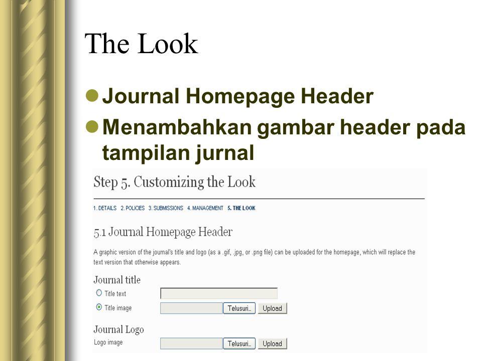 The Look Journal Homepage Header Menambahkan gambar header pada tampilan jurnal