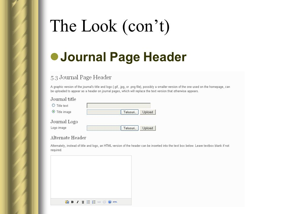 The Look (con't) Journal Page Header