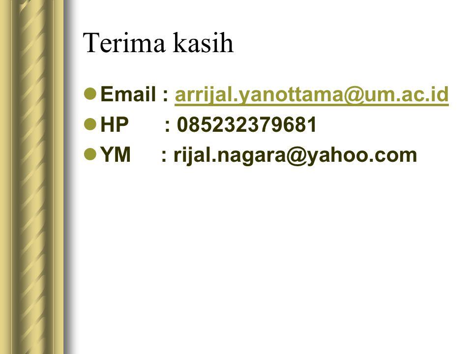 Terima kasih Email : arrijal.yanottama@um.ac.idarrijal.yanottama@um.ac.id HP : 085232379681 YM : rijal.nagara@yahoo.com