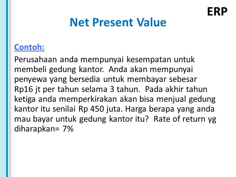 ERP Net Present Value Contoh: Perusahaan anda mempunyai kesempatan untuk membeli gedung kantor. Anda akan mempunyai penyewa yang bersedia untuk membay