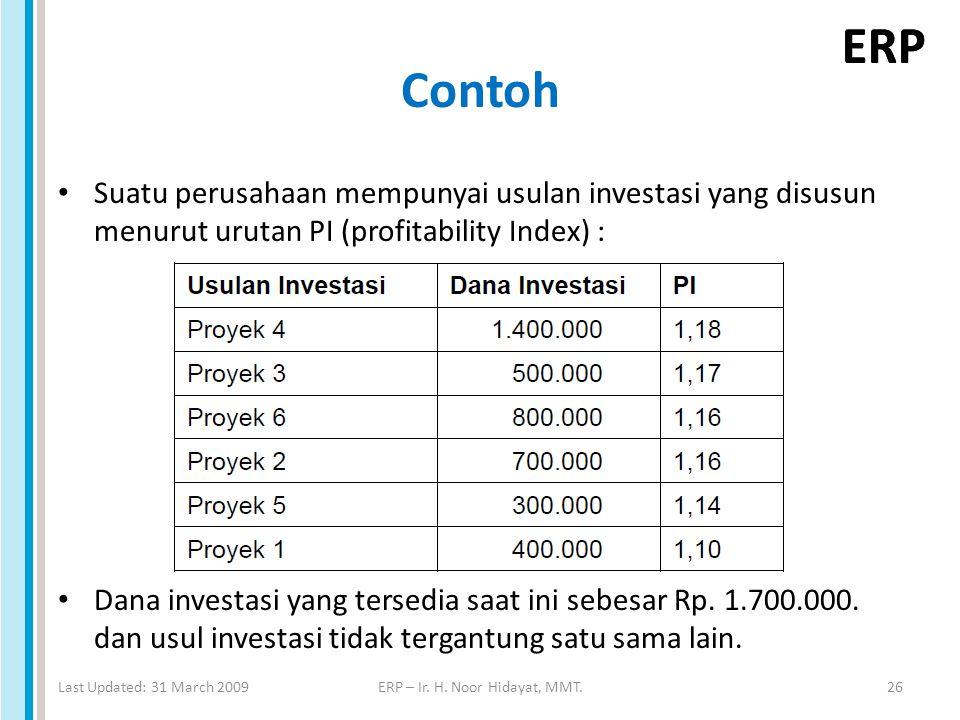 ERP Contoh Suatu perusahaan mempunyai usulan investasi yang disusun menurut urutan PI (profitability Index) : Dana investasi yang tersedia saat ini sebesar Rp.