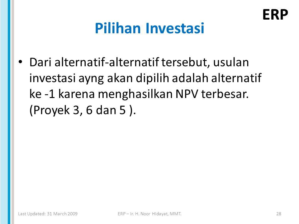 ERP Pilihan Investasi Dari alternatif-alternatif tersebut, usulan investasi ayng akan dipilih adalah alternatif ke -1 karena menghasilkan NPV terbesar