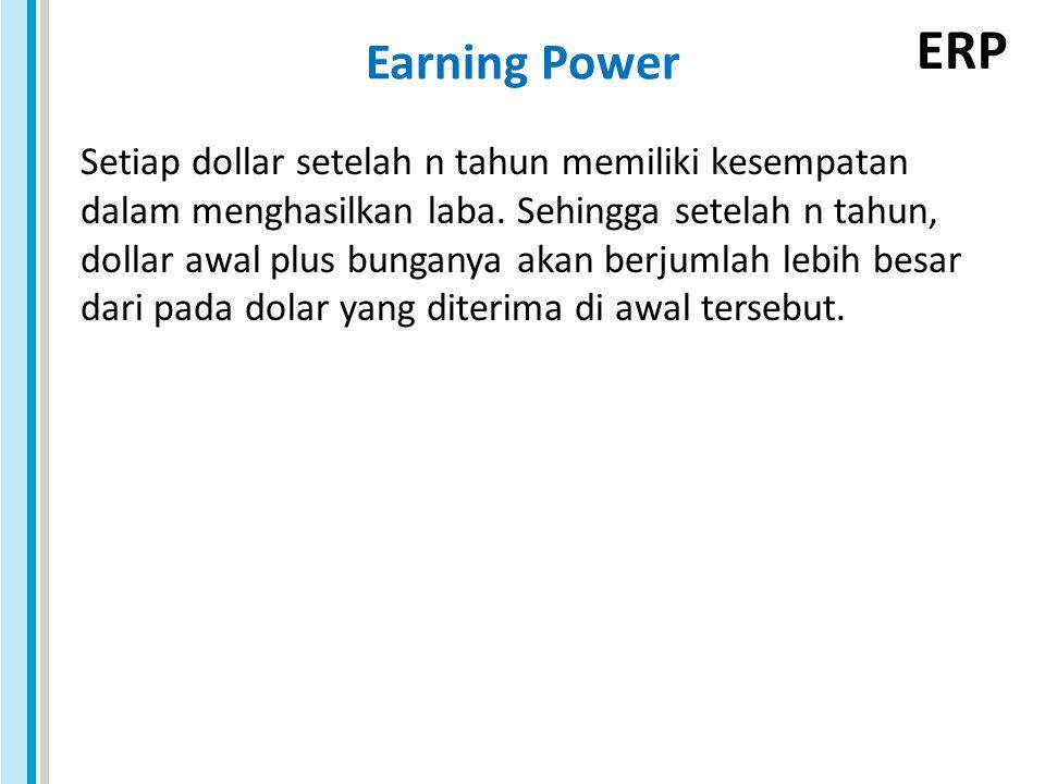 ERP Earning Power Setiap dollar setelah n tahun memiliki kesempatan dalam menghasilkan laba. Sehingga setelah n tahun, dollar awal plus bunganya akan
