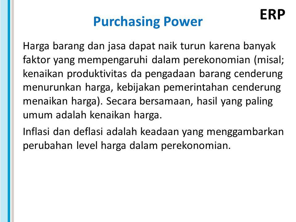 ERP Purchasing Power Harga barang dan jasa dapat naik turun karena banyak faktor yang mempengaruhi dalam perekonomian (misal; kenaikan produktivitas da pengadaan barang cenderung menurunkan harga, kebijakan pemerintahan cenderung menaikan harga).