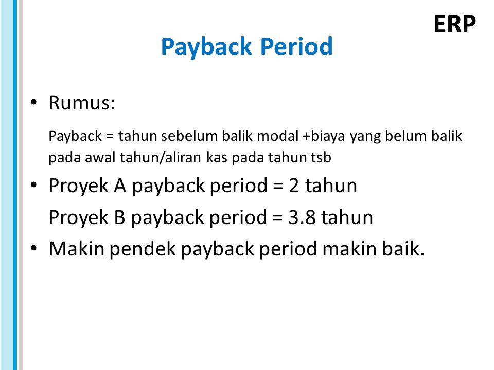 ERP Payback Period Rumus: Payback = tahun sebelum balik modal +biaya yang belum balik pada awal tahun/aliran kas pada tahun tsb Proyek A payback period = 2 tahun Proyek B payback period = 3.8 tahun Makin pendek payback period makin baik.