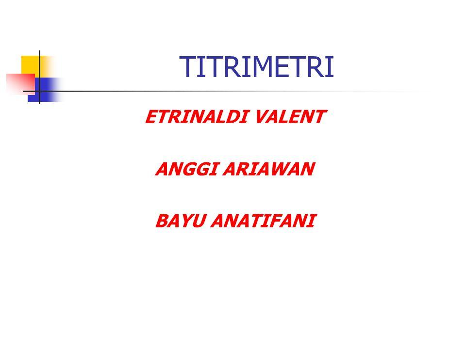 INDIKATOR IDIKATORWARNA ASAMWARNA BASATRAYEK pH Alizarin kuning kuningungu10,1 -12,0 Fenolftaleintak berwarna merah8,0 -9,6 Metil merahKUNINGMERAH6.8 – 8.4 METIL JINGGA MERAHKUNING4.2 – 6.2