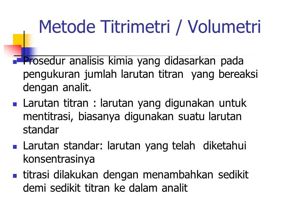 Metode Titrimetri / Volumetri Prosedur analisis kimia yang didasarkan pada pengukuran jumlah larutan titran yang bereaksi dengan analit.