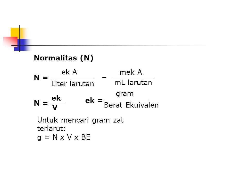 Hitung molaritas suatu larutan H 2 SO 4 yang mempunyai densitas 1,30 g/ml dan mengandung 32,6% bobot SO 3. BM SO 3 =80,06 Jawab: 1 liter larutan menga