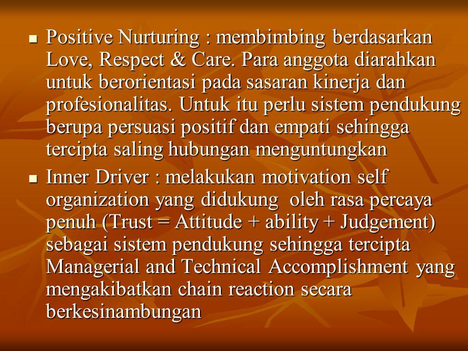 Positive Nurturing : membimbing berdasarkan Love, Respect & Care. Para anggota diarahkan untuk berorientasi pada sasaran kinerja dan profesionalitas.