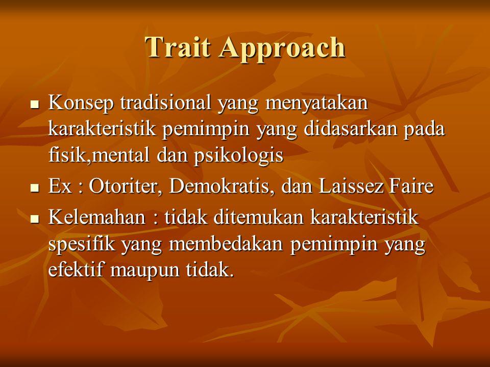 Trait Approach Konsep tradisional yang menyatakan karakteristik pemimpin yang didasarkan pada fisik,mental dan psikologis Konsep tradisional yang meny