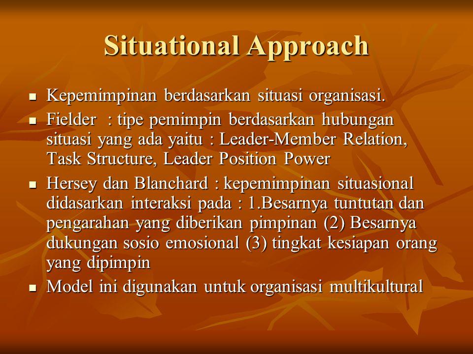 Situational Approach Kepemimpinan berdasarkan situasi organisasi. Kepemimpinan berdasarkan situasi organisasi. Fielder : tipe pemimpin berdasarkan hub