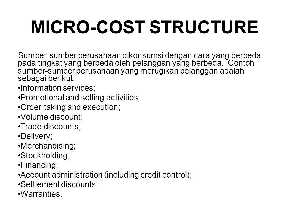 MICRO-COST STRUCTURE Sumber-sumber perusahaan dikonsumsi dengan cara yang berbeda pada tingkat yang berbeda oleh pelanggan yang berbeda.