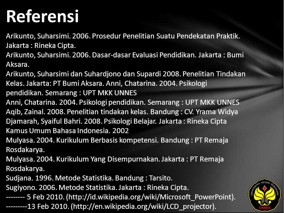 Referensi Arikunto, Suharsimi.2006. Prosedur Penelitian Suatu Pendekatan Praktik.